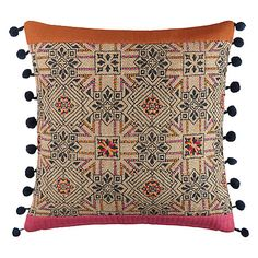 John Lewis Hessian Pompoms Cushion, Multi Online at johnlewis.com #FashionYourHome
