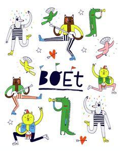 Aniek Bartels - A print for baby Boet #illustrator #illustration #boet #baby #party #fun #colors #animals #dance #music #happy #confetti #crocodile #bear #dog #newborn #print