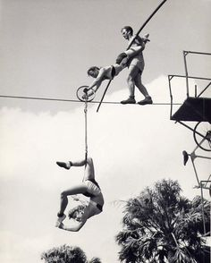 1950s circus trapeze artists.