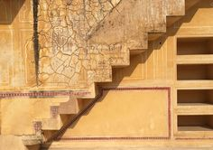 Sunlight on the open stairway.  Nahargarh Fort, Jaipur, Rajasthan, India. katiesargentdesign.com Rajasthan India, Jaipur, Interior Design Studio, Interior Design Services, Stairways, Sunlight, Landscape, Travel, Home Decor