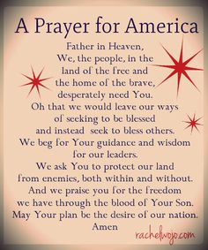 Today is National Day of Prayer...let's remember to pray for America today