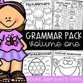Grammar Worksheet Packet - Nouns, Adjectives and Verbs Worksheets Nouns And Adjectives, Verb Tenses, Irregular Nouns, Educational Math Games, Proper Nouns, Action Verbs, Compound Words, Grammar Worksheets