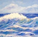 Carmen Beecher|Spring Wave, 6x6 Oil on Canvas