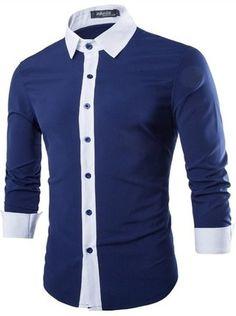 Camisa Casual Fashion - Detalles en Contraste - en Azul, Blanco y Negro