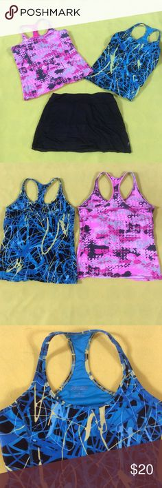 Calvin Klein Performance workout top bundle 2 Calvin Klein performance quick dry workout tops! One is blue multicolored and a pink multicolored! The price is for both Calvin Klein Tops Tank Tops