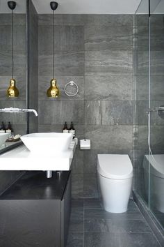 Luxury Master Bathroom Ideas is completely important for your home. Whether you pick the Small Bathroom Decorating Ideas or Small Bathroom Decorating Ideas, you will create the best Luxury Bathroom Master Baths Wet Rooms for your own life. Small Grey Bathrooms, Grey Bathrooms Designs, Grey Bathroom Tiles, Gray And White Bathroom, Modern Bathrooms Interior, Gold Bathroom, Grey Tiles, Beautiful Bathrooms, Bathroom Interior Design