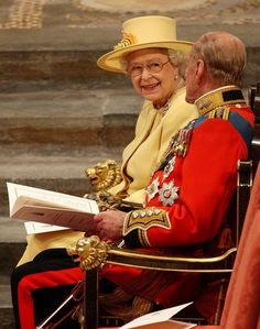 Queen Elizabeth II and Prince Philip at the wedding of Prince William and Catherine Middleton. April 29th, 2011