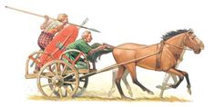 Profile view of a British Celtic chariot in action.