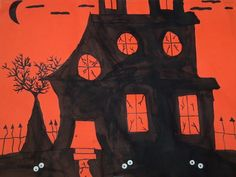 Spooky Houses- black marker on orange paper. Grade 3/4