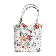 Multi-Way Floral Leather Shoulder Bag/Backpack - £49.99