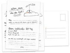 """Das Hochzeitsspiel """"Schön, dass du da bist"""" als Postkarten Set in Schwarz Weiß im schönen Kalligrafie Design kann ein Hochzeitsgästebuch ersetzen, denn dort kann jeder Hochzeitsgast Fragen..."""