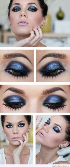 Linda Hallberg blue and black eye makeup and pink lips