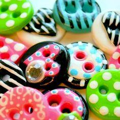 Color Crazy Buttons (handmade set of 12)