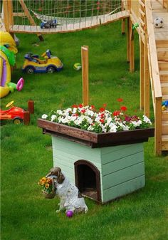 small dog house design with roof flower bed
