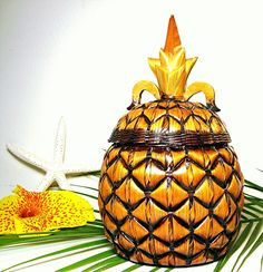 Vintage Pineapple Basket Retro Tiki Tropical by OceansideCastle
