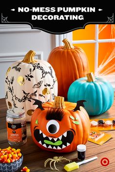 Think pumpkin carving is all wooden spoons and messy cleanup? Check out these awesome new ideas for pumpkin decor - think about stickers, sequins and stencil painting to give your gourds an artistic flair. For easy-peasy decorating fun, just pick up a Spritz pumpkin decorating kit. And for a durable customizable pumpkin, check out our  resin pumpkins that last year after year.