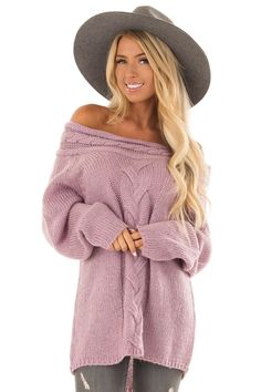 9bf88fcf7b3d3 Lime Lush Boutique - Lavender Off the Shoulder Knit Sweater with Braided  Detail