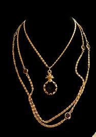 Vintage GOLDETTE INTAGLIO CAMEO Triple Chain Necklace with Bezel Rhinestones by thebink on Etsy