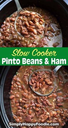 Slow Cooker Pinto Beans and Ham is a simple recipe that is hearty, filling, and delicious! This is good comfort food! This crock pot pinto beans and ham is a slow cooker dump and start recipe. Super easy to make crock pot pinto beans. simplyhappyfoodie.com #slowcookerpintobeans #crockpotpintobeans Ham And Pinto Beans Recipe, Crockpot Ham And Beans, Ham Hocks And Beans, Dry Beans Recipe, Slow Cooker Beans, Crock Pot Slow Cooker, Crock Pot Cooking, Slow Cooker Recipes, Crockpot Recipes
