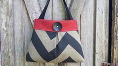 Handbag+Purse+Tote+Bag+in+Red+and+Black+Chevron+by+DandelionHoney,+$49.00