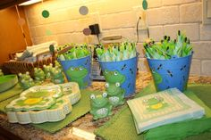 """Photo 3 of 44: Frogs & Snails & Puppy Dog Tails (& Red Wagons) / Birthday """"Carter's 1st Birthday Party""""   Catch My Party"""