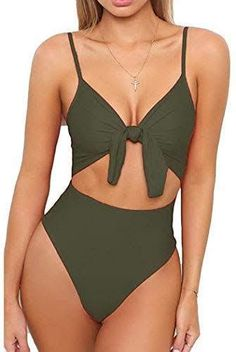 Shop a great selection of LEISUP Womens Spaghetti Strap Tie Knot Front Cutout High Cut One Piece Swimsuit. Find new offer and Similar products for LEISUP Womens Spaghetti Strap Tie Knot Front Cutout High Cut One Piece Swimsuit. Cheeky Swimsuits, Best Swimsuits, Women's One Piece Swimsuits, Women Swimsuits, 1 Piece Swimsuit, Grey Swimsuit, Womens High Waisted Bikini, Mode Du Bikini, Maternity Swimsuit