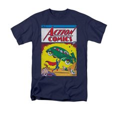 Superman Action No. 1 on Navy T-Shirt
