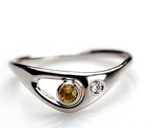 camomille - 14K or blanc bague avec Saphir jaune et diamants