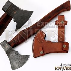 Andy Alm New Custom Hand Forged USA Damascus Bearded Axe Wooden Handle S212 #KnivesExporter