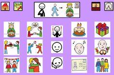 """""""Tablero de comunicación: cumpleaños"""". Recopilación de diferentes tableros de comunicación de 12 casillas, organizados por necesidades básicas y centros de interés. Los tableros pueden imprimirse tal como aparecen en los documentos o bien se puede modificar el contenido, la forma, el color, etc., para adaptarlos a las características individuales de cada usuario. Pueden utilizarse también para trabajar distintos repertorios de vocabulario agrupado por temas o categorías."""