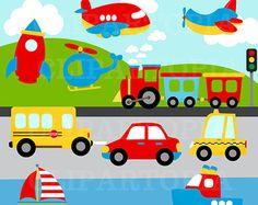 Vervoer digitale Clipart /Transportation Clip Art /Plane, helikopter, trein, auto, boot, raket voor persoonlijke en commerciële ons