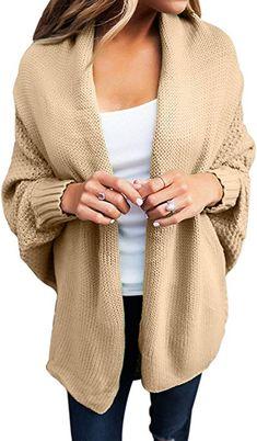 b6be9b1371 Dearlove Women s Casual Long Dolman Sleeve Draped Open Front Cozy Loose Knit  Cardigan Sweaters Oversized Outwear