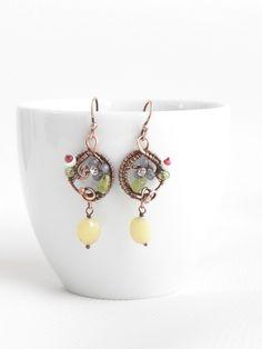 Flowering earrings, gemstone earrings with flowers, color blossom earrings by IrenAdler on Etsy https://www.etsy.com/listing/216383409/flowering-earrings-gemstone-earrings