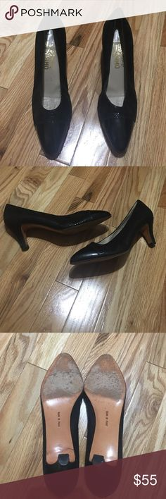 Salvatore Ferragamo pumps Black reptile embossed with black patten toe size 8AA 21/2 in heel. Salvatore Ferragamo Shoes Heels