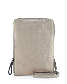 Brunello Cucinelli Metallic Leather Crossbody Bag, Gold