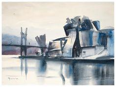 Guggenheim museum, Bilbao, Spain. Watercolour by Michal Jasiewicz, Poland. Available  bpbilbao@gmail.com
