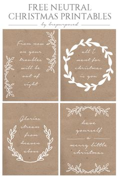 Come print out these 4 Free Neutral Christmas Printables! Resize for project life filler cards Source: Neutral Christmas Printables - REASONS TO SKIP THE HOUSEWORK