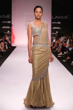 Jyotsna Tiwari Lakme Fashion Week Summer 2014 gold and silver fusion Indian wedding sari