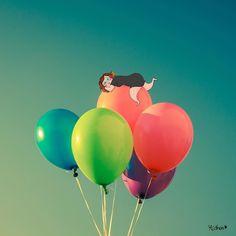 #Repost @mathouchou  { L'ENVOL TOUT DOUX DU LUNDI } Bon lundi les bichons on fait tout doucement hein dak ?! (genre même je vais essayer de prendre ma journée mais vu que je suis déjà devant mon bureau ça va être chaud-chaud de tenir cette bonne résolution ) Belle journée belle semaine ! #mathou #crayondhumeur #illustration #dessin #photo #ballons #alacool #toutdoucement