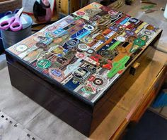 Use old cigar bands to customize a humidor -- makes an easy, affordable & personalized gift!