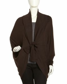 Tie-Neck Cocoon Cardigan, Java by Lafayette 148 New York at Neiman Marcus Last Call.