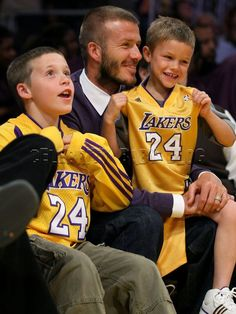 Rooting on the Lakers! David Beckham and sons