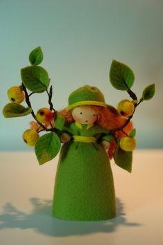 Cute Apple Girl - Flower Child - Waldorf Inspired - Nature Table. €38.00, via Etsy.