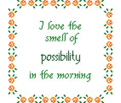 I love the smell of possibility in the morning. This is a very delicate and femiinine cross stitch pattern by crossstitchtheline