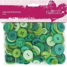 Papermania 250 g Assorted Button Pack, Green Fabric Crafts, Paper Crafts, Collage, Making Greeting Cards, Scrapbooks, Yoshi, Decoupage, Craft Projects, Card Making