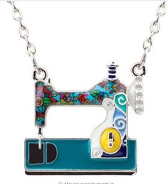 Sewing machine pendant with crystals on the chain. The size of the pendant - 1 x 1 The length of the chain - 17 + 2 You can choose the color of the machine. Cute gift for your sewing friend. Charm Jewelry, Jewelry Necklaces, Jewellery, Jewelry Trends 2018, Monogram Jewelry, Love Sewing, Sewing Tips, Affordable Jewelry, Simple Earrings