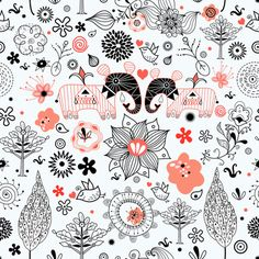 floral graphic pattern with elephants