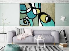 Vibrant Colorful Abstract-0-38. Mid-Century Modern Green