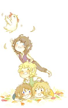 Hobbit pile- Frodo, Sam, Pippin, and Merry #lordoftherings #fanart