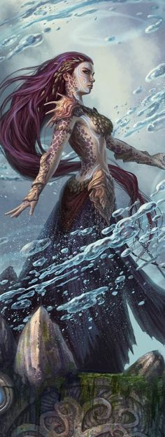 Fathom Mage aus Magic the Gathering (bearbeitet) - Fantasy - Art Fantasy Inspiration, Character Inspiration, Character Art, Magic The Gathering, Fantasy Kunst, Mermaids And Mermen, Real Mermaids, Fantasy Mermaids, M Anime